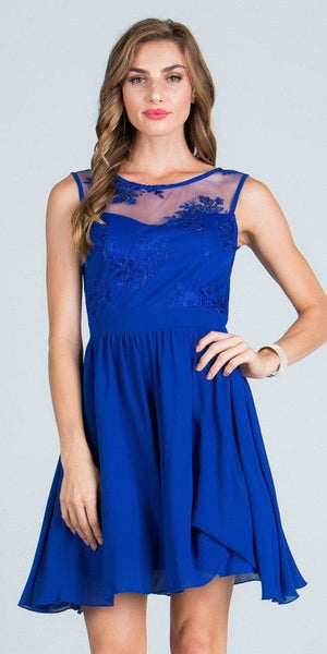Illusion Embroidered Bodice Homecoming Short Dress Sleeveless Royal Blue