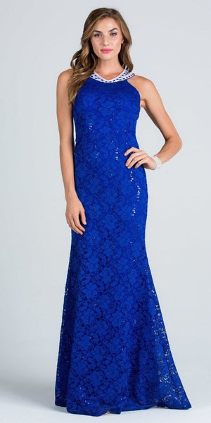 Embellished Neckline Lace Evening Gown Cut Out Back Royal Blue