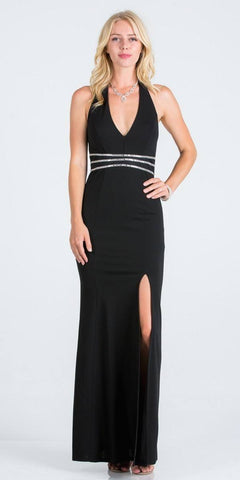 V-Neck Halter Long Formal Dress Black with Slit