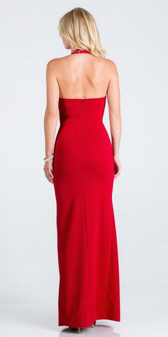 V-Neck Halter Long Formal Dress Red with Slit
