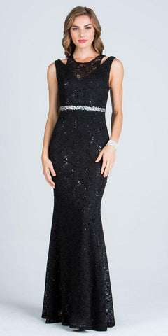 Black Long Prom Dress Embellished Waist Cut Out Shoulder