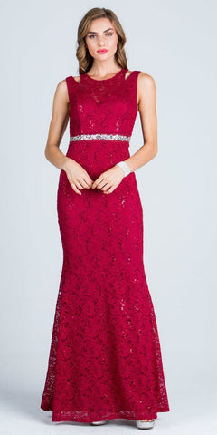 Burgundy Long Prom Dress Embellished Waist Cut Out Shoulder