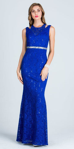 Royal Blue Long Prom Dress Embellished Waist Cut Out Shoulder