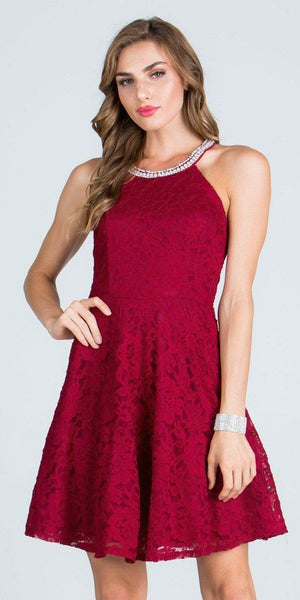 Burgundy Lace Beaded Neck Short Cocktail Dress Keyhole Back