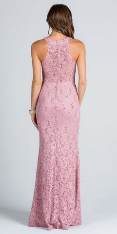 Blush Mermaid Prom Gown Embellished Neckline Lace Illusion Back