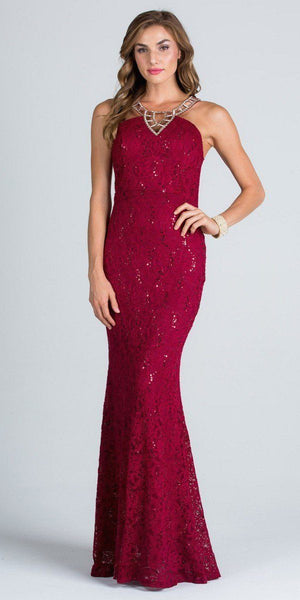 Burgundy Mermaid Prom Gown Embellished Neckline Lace Illusion Back