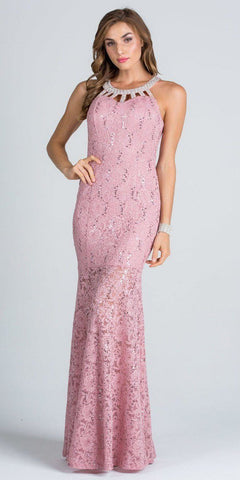 Embellished Neckline Fit and Flare Illusion Skirt Lace Prom Gown Blush