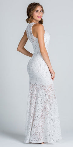 Embellished Neckline Fit and Flare Illusion Skirt Lace Prom Gown Off White