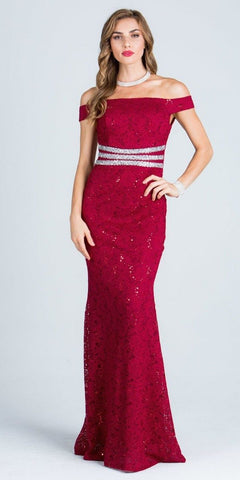 Red Embellished Off Shoulder Prom Gown Fit and Flare