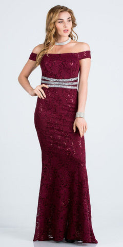 Burgundy Embellished Off Shoulder Prom Gown Fit and Flare
