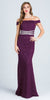 La Scala 24569 Eggplant Embellished Off Shoulder Prom Gown Fit and Flare