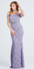 Lilac Grey Embellished Off Shoulder Prom Gown Fit and Flare
