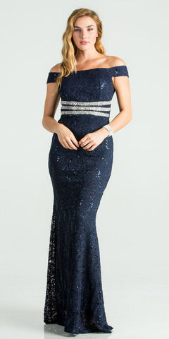 La Scala 24569 Navy Blue Embellished Off Shoulder Prom Gown Fit and Flare