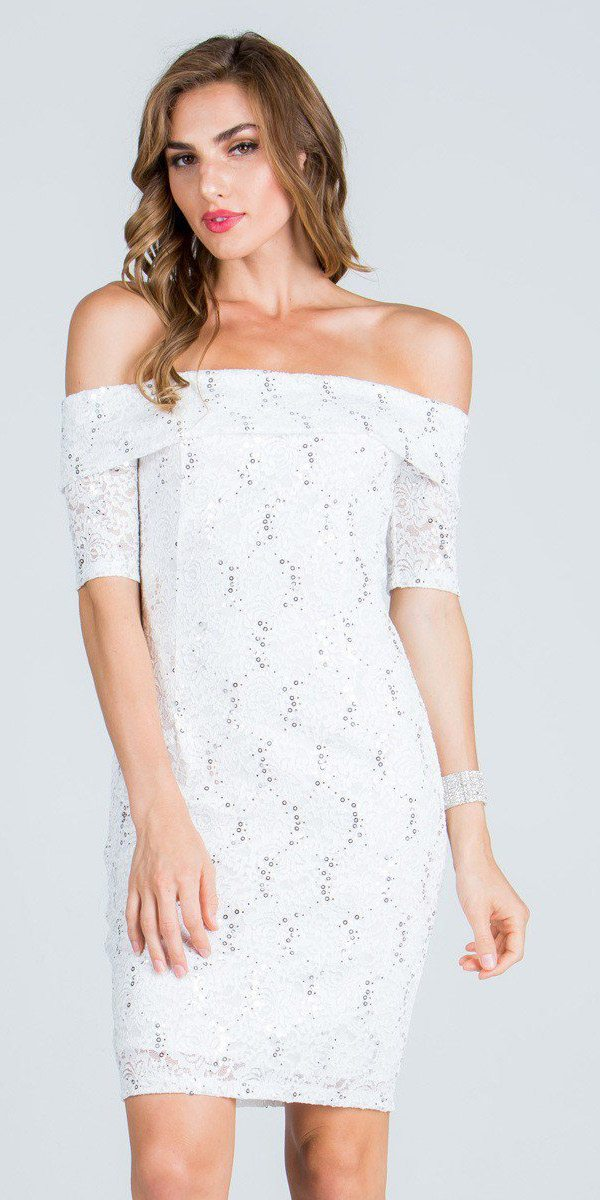 d58ab9145e7 ... Short Sleeve Off Shoulder Bodycon Short Cocktail Dress Off White ...