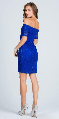 Short Sleeve Off Shoulder Bodycon Short Cocktail Dress Royal Blue