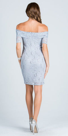 Short Sleeve Off Shoulder Bodycon Short Cocktail Dress Silver