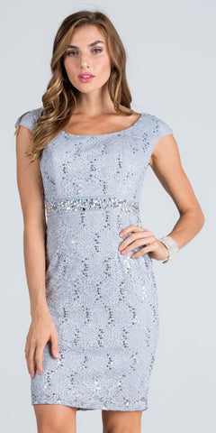 Cap Sleeves Lace Cocktail Dress Embellished Waist Silver