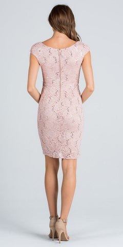 Cap Sleeves Lace Cocktail Dress Embellished Waist Taupe