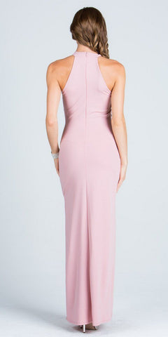 Keyhole Neck Embellished Waist Long Formal Dress Blush