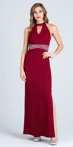 Keyhole Neck Embellished Waist Long Formal Dress Burgundy