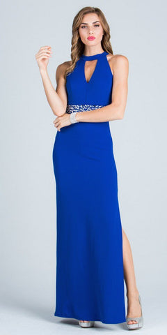 Keyhole Neck Embellished Waist Long Formal Dress Royal Blue