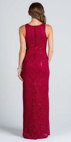 Burgundy Long Formal Dress Lace with Embellished Neckline