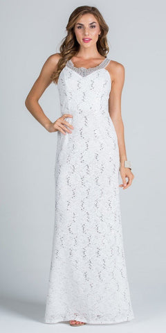 Off White Long Formal Dress Lace with Embellished Neckline