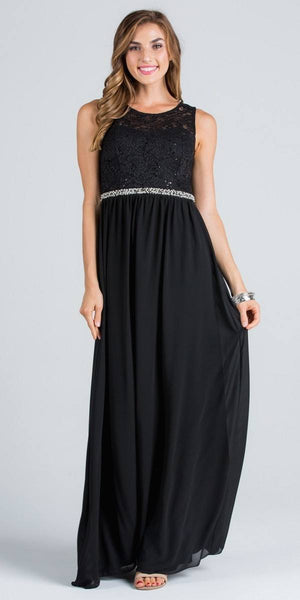 Empire Beaded Waist Floor Length Formal Dress Cut Out Back Black
