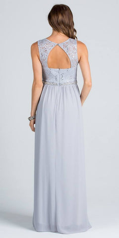 Empire Beaded Waist Floor Length Formal Dress Cut Out Back Silver