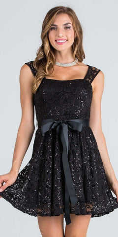 Black Sequins-Lace Cocktail Dress with Ribbon Sash Belt