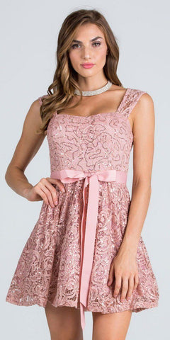 Blush Sequins-Lace Cocktail Dress with Ribbon Sash Belt