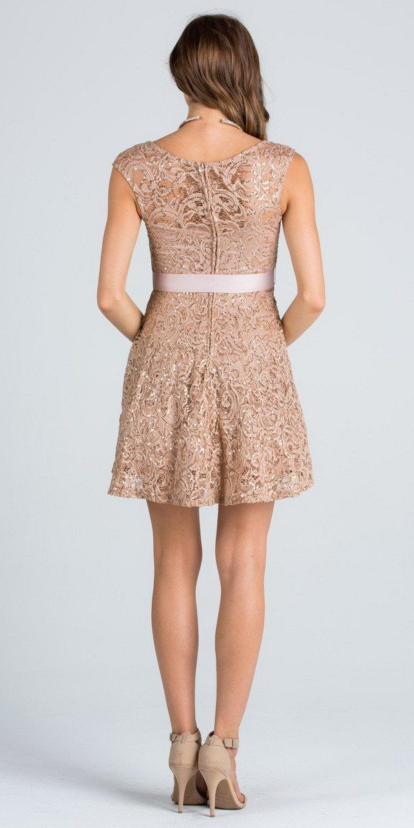 cocoa sequins lace cocktail dress with ribbon sash belt