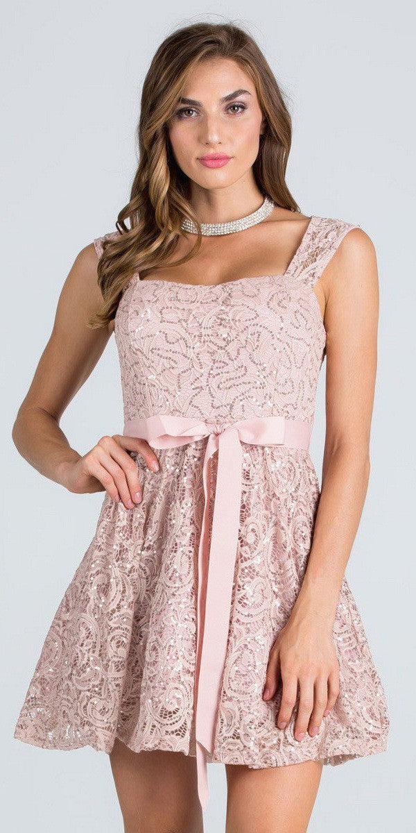 taupe sequins lace cocktail dress with ribbon sash belt