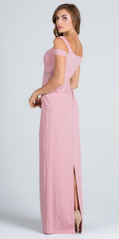 Cold Shoulder Floor Length Formal Dress Beaded Waist Blush