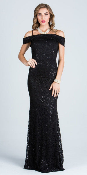 Off The Shoulder with Strap Black Floor Length Prom Dress