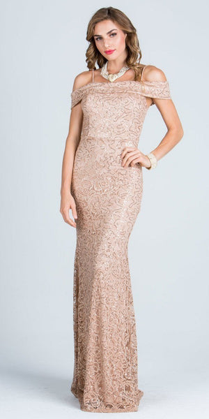 Off The Shoulder with Strap Cocoa Floor Length Prom Dress