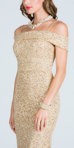 Off The Shoulder with Strap Gold Floor Length Prom Dress