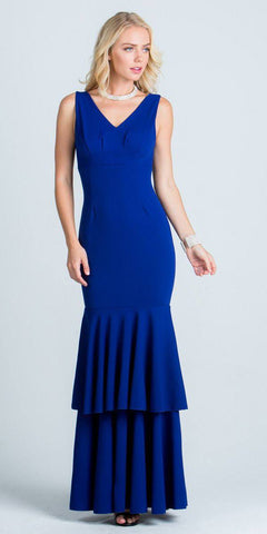 Royal Blue Layered Mermaid Long Formal Dress V-Neck