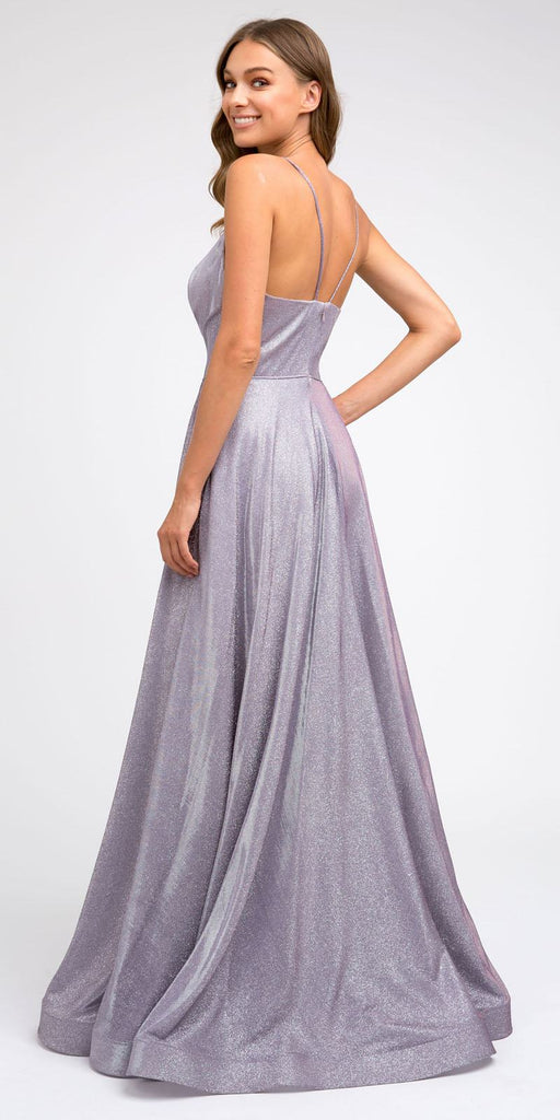 Long Metallic Lilac Prom Dress with Plunging V-Neck