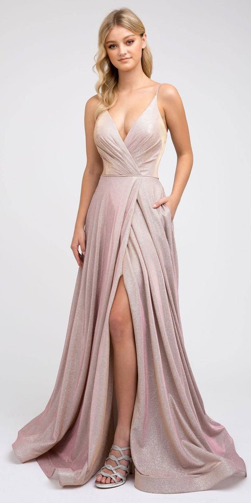 Long Metallic Rose Gold Prom Dress with Plunging V-Neck