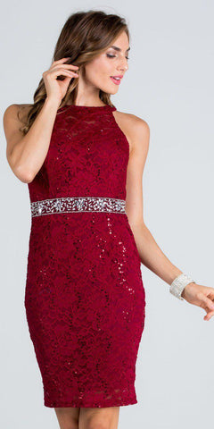 Keyhole Back Burgundy Lace Fitted Cocktail Dress Rhinestone Waist