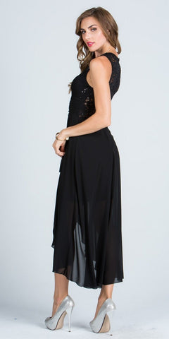 Black High and Low Homecoming Dress V-Neck with Brooch