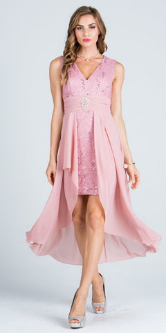 Blush High and Low Homecoming Dress V-Neck with Brooch