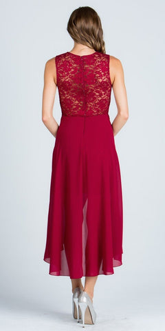 Burgundy High and Low Homecoming Dress V-Neck with Brooch