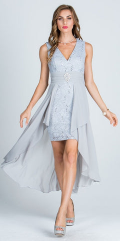 Silver High and Low Homecoming Dress V-Neck with Brooch