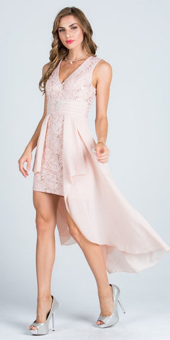 Taupe High and Low Homecoming Dress V-Neck with Brooch