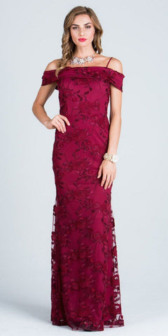 Embroidered Fit and Flare Prom Gown Off Shoulder with Strap Burgundy