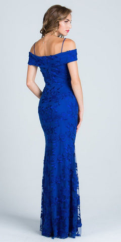 Embroidered Fit and Flare Prom Gown Off Shoulder with Strap Royal Blue