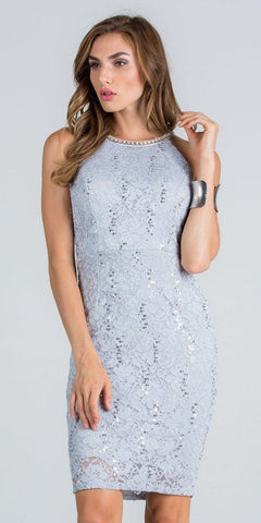 Silver Embellished Neckline Fitted Lace Party Dress Sleeveless