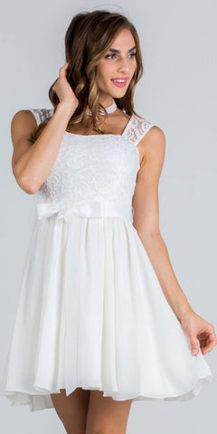 Ivory Cocktail Dress Cut Out Back with Ribbon Sash Belt